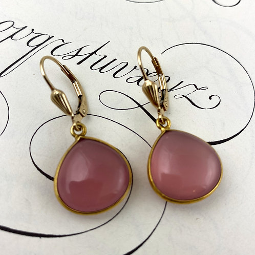 Cherry blossom Chalcedony Earrings - Gold