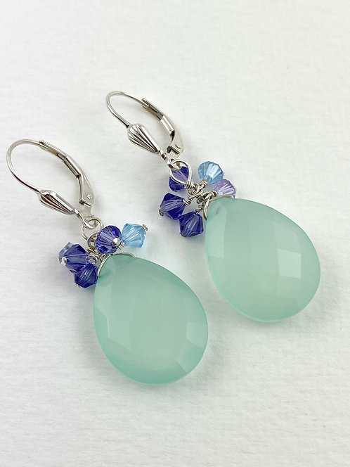 Faceted Chalcedony Cluster Earrings with Lavender