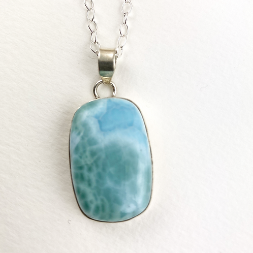 Larimar Silver Necklace -Rectable
