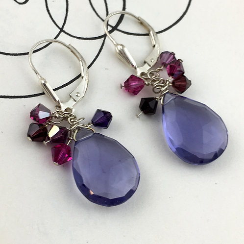 Purple Quartz Cluster Earrings