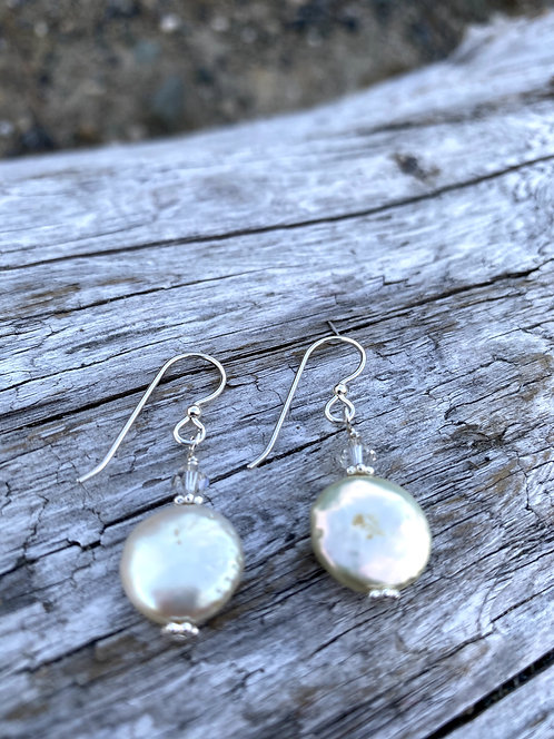 Coin Pearl Sterling Earrings