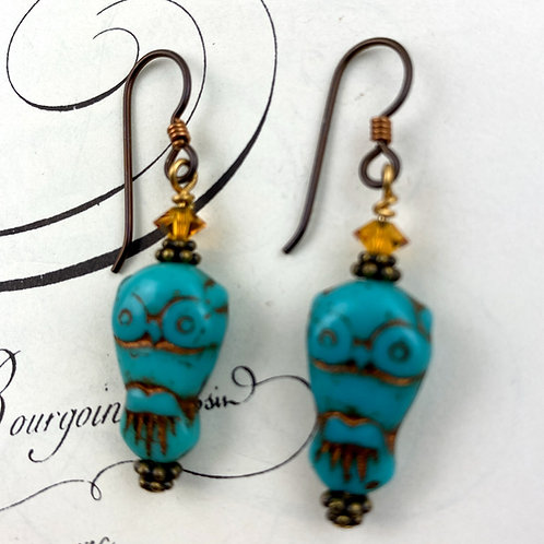 Turquoise Owls Earrings with crystals
