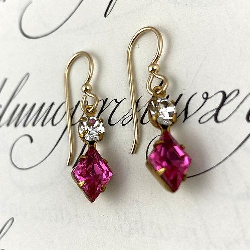 Cherry Pink Vintage Earrings
