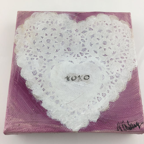 Heart Collage Painting -  White XOXO Heart