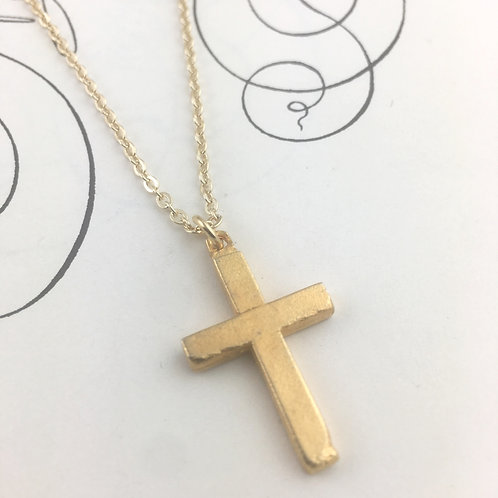 Petite Etched Gold Vintage Cross Pendant Necklace