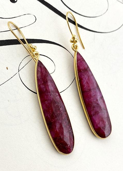 Long Ruby Earrings - gold