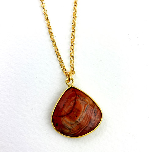 Light Burgundy Jasper Pendant Necklace