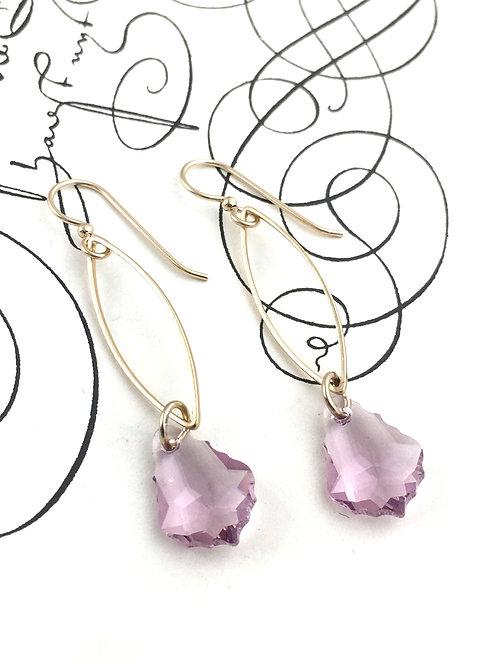 Lilac Swarovski Crystal Dangle Earrings
