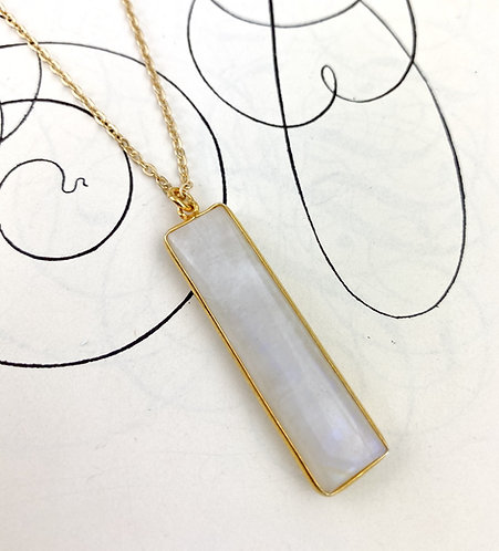 Moonstone Rectangle Pendant Necklace