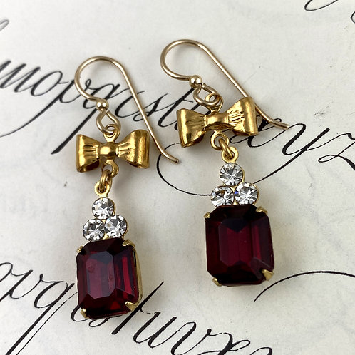 Fancy Ruby Red Vintage Earrings with Bows