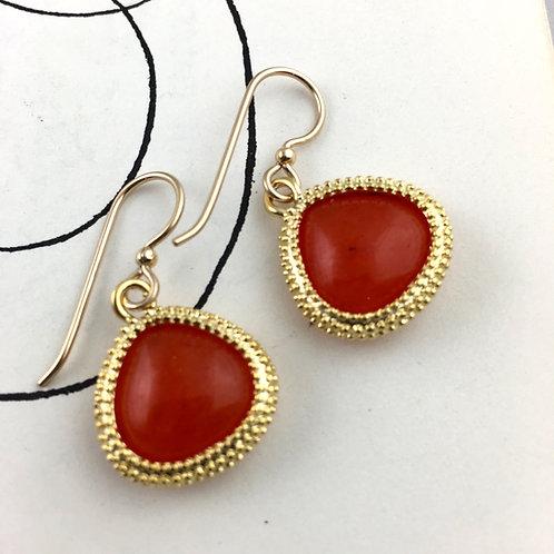 Bright Orange Earrings with Braided Trim