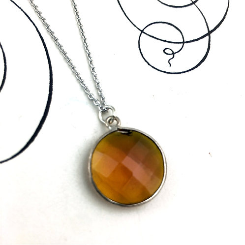 Cottonvtail- Faceted Carmel Brown Quartz Pendant