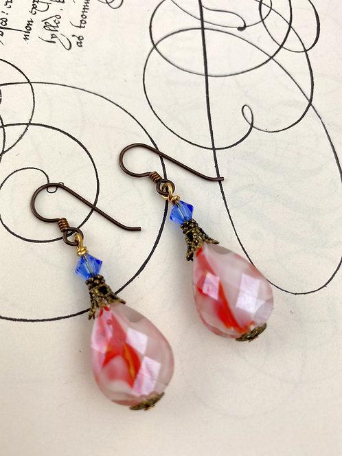 Red Brass Vintage Style Earrings
