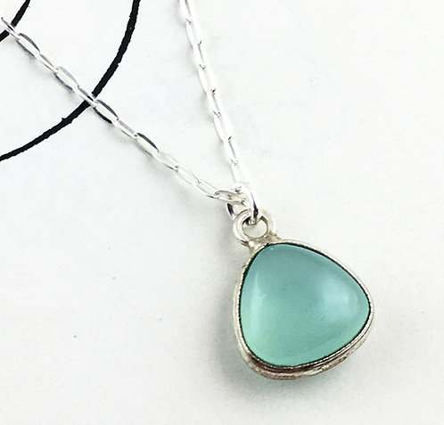 Petite Chalcedony Silver Necklace - positive