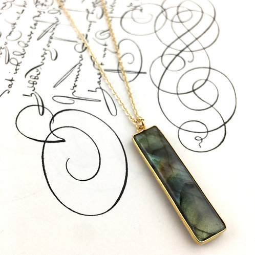 Labradorite Rectangle Necklace - Small