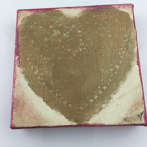 Heart Collage Painting - Gold Heart