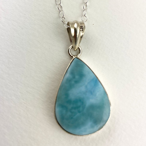 Larimar Silver Necklace - Peace