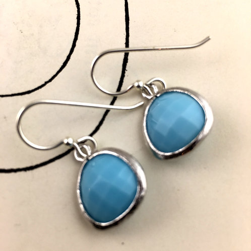 Bright Blue Turquoise Crystal Earrings