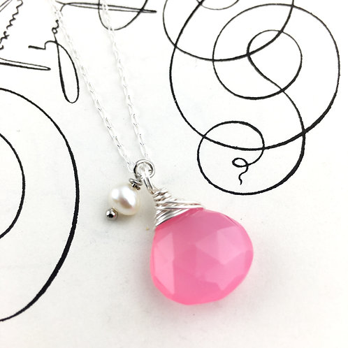 Pink Chalcedony Briolette Necklace