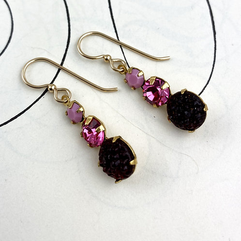 Cherry Crystal Vintage  Earrings