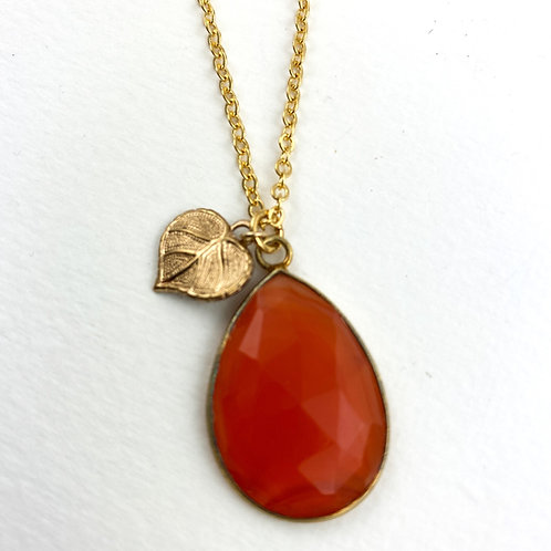 Faceted Orange Carnelian Necklace With Leaf