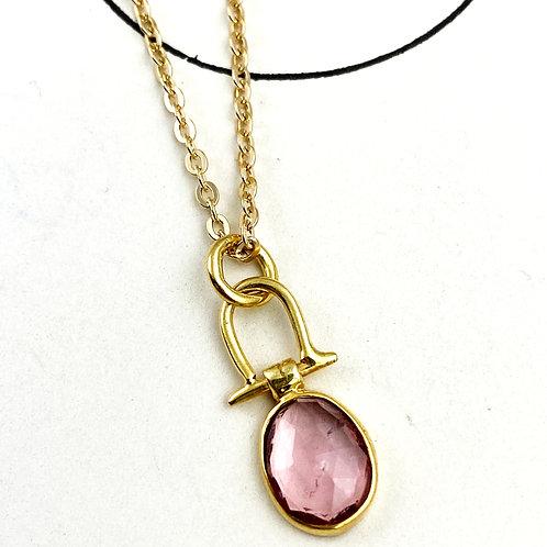 Pale Pink Tourmaline Pendant Necklace