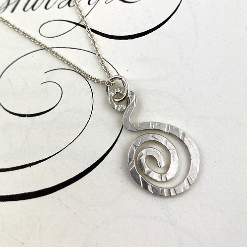 Swirly Fused Silver Necklace