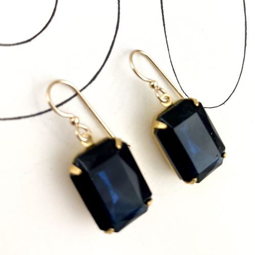 Indigo Blue Crystal Vintage  Earrings