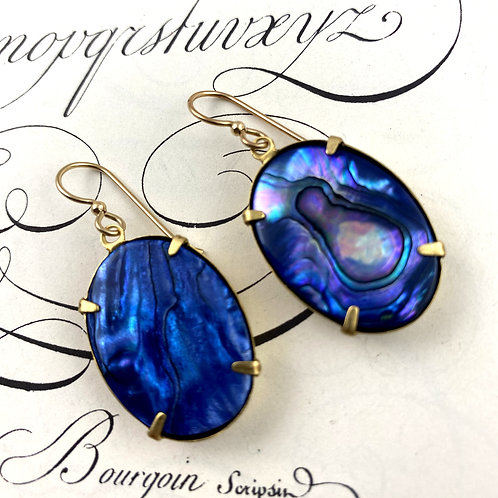 Brilliant Blue Abalone Gold Earrings
