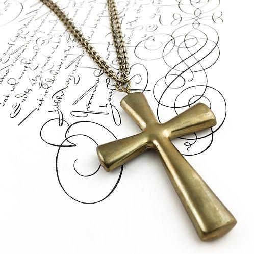 Vintage Brass Cross Pendant Necklace