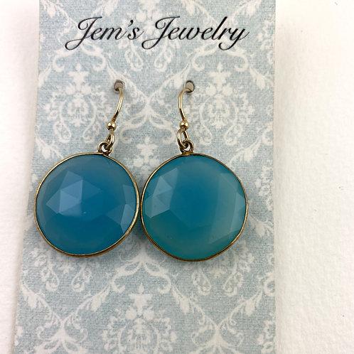 Capri Blue Quartz Gold Earrings