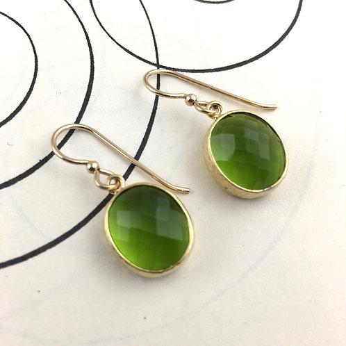 Green Crystal Gold Earrings