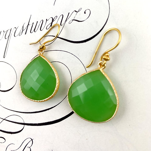 Bright  Green Chalcedony Earrings