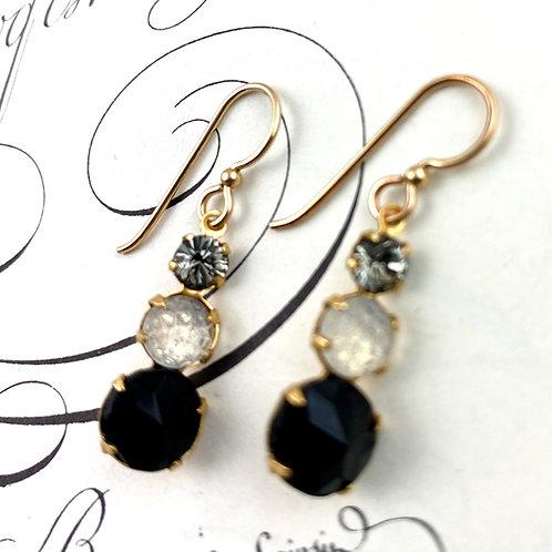 Fancy Black Crystal Vintage  Earrings