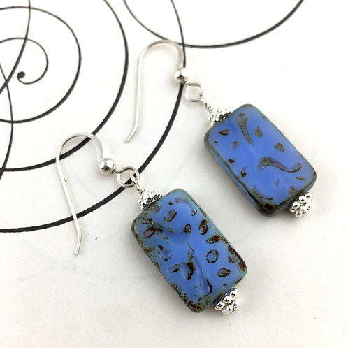 Classic Blue Rectangle Earrings