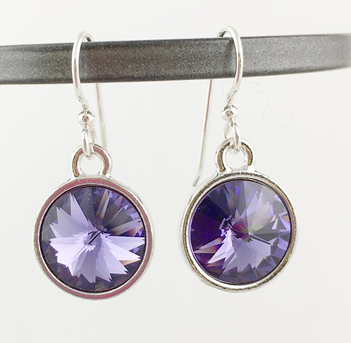Swarovski Crystal Tanzanite Purple Earrings