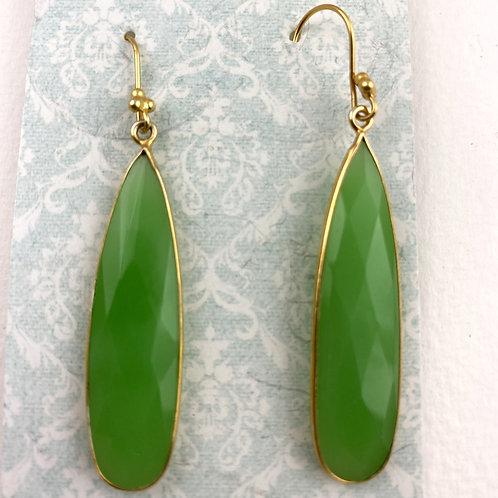 Large Green Chalcedony Earrings