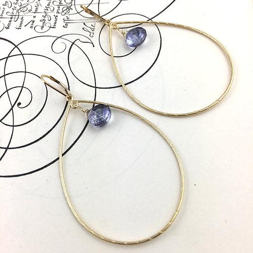 Large Loop Blue Quartz Earrings