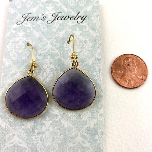 Large Purple Quartz Gold Earrings