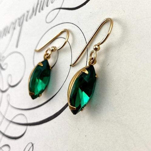 Elegant Emerald Green Vintage Earrings