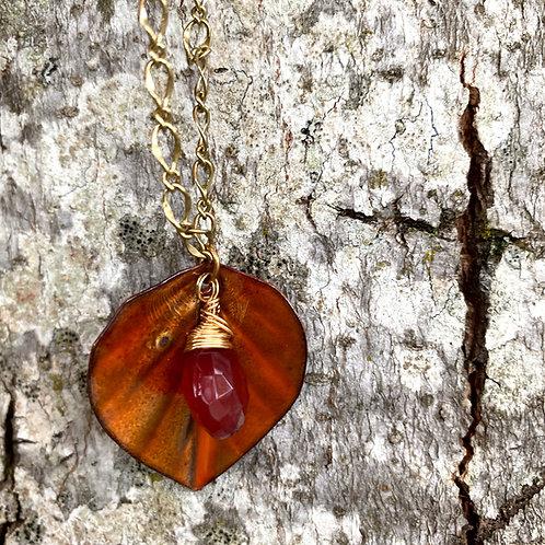 Copper Enamel Leaf Necklace