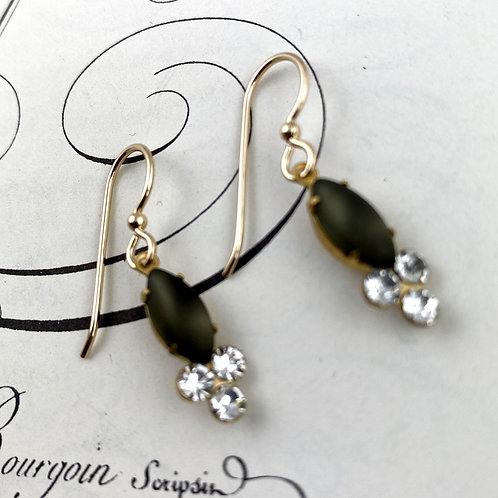 Black Crystal Vintage  Earrings