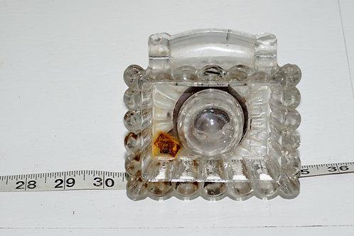 Early 1900s Inkwell - Glass And Iron