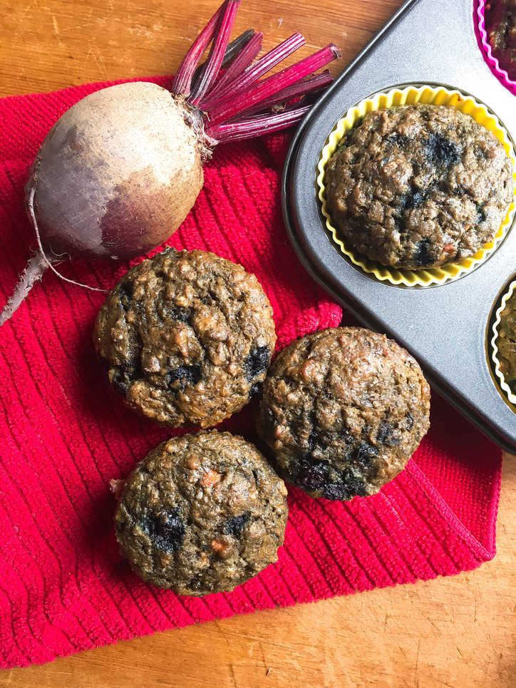 3B Muffins (Beets, Bananas, and Blueberries)