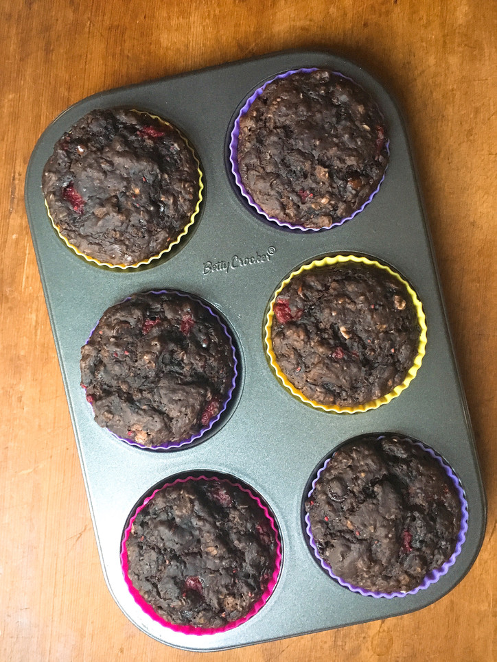 Double chocolate raspberry muffins