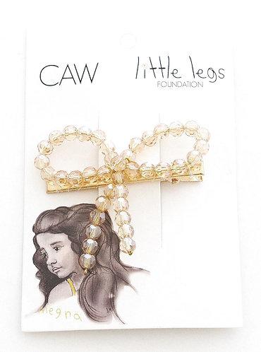 CAW CRYSTAL BOW HAIR CLIP