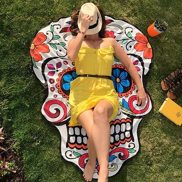 Manta para llevar a picnic en forma de calavera mexicana
