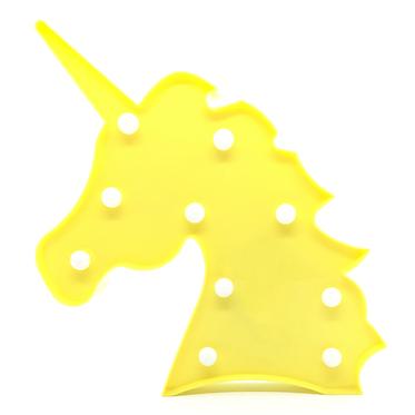 Lámpara cabeza unicornio amarillo