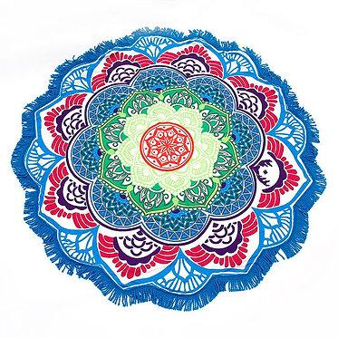 Manta meditacion yoga tapete mandala azul