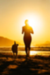 Silhouette of woman and dog running toge